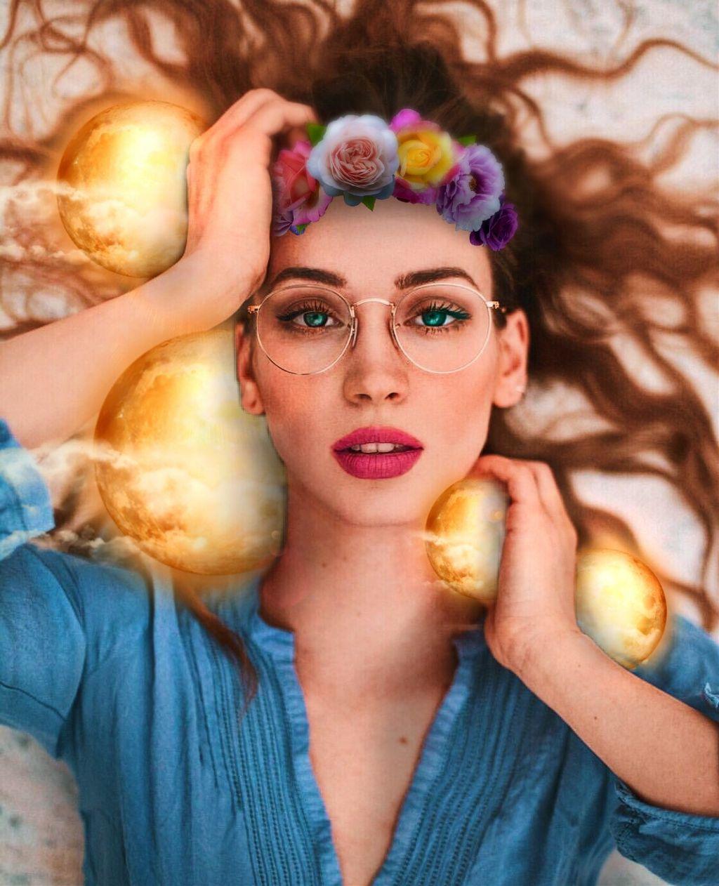 #freetoedit #girl #portrait #moon #lights #lipstick #fridaflowercrown #flowercrown #hawaii #lensflare #beautiful