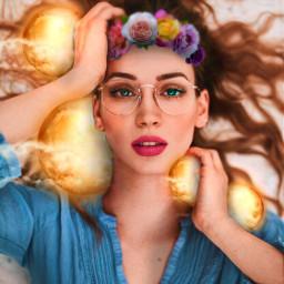 freetoedit girl portrait moon lights srcfridaflowercrown