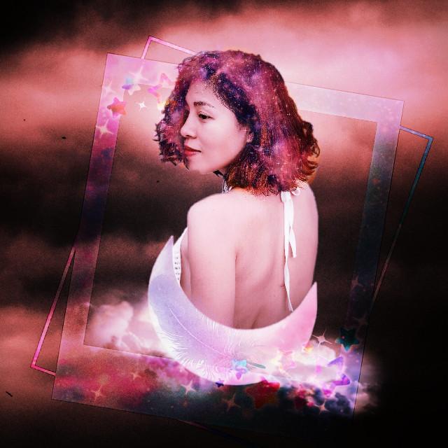 #freetoedit #remixit #galaxyhair #antiguafoto #lomoeffect #moon sticker #galaxyframe
