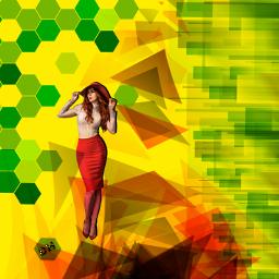 freetoedit hexagons hexagonos girl shadow