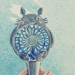 art drawing illustration totoro sky
