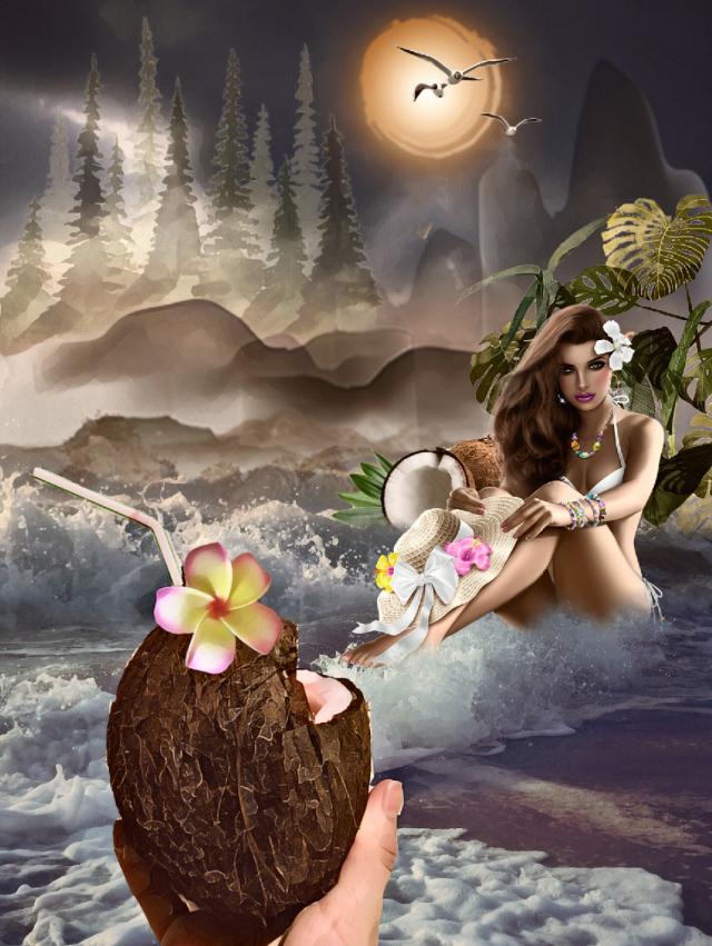 #freetoedit  #ircsummervibin #summervibin#myedit #inspiration #Beach#coctel #coconut