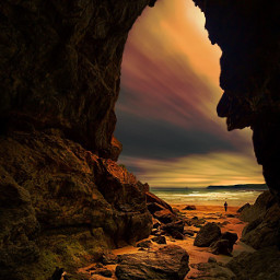 freetoedit silhoutte cave sunset photography