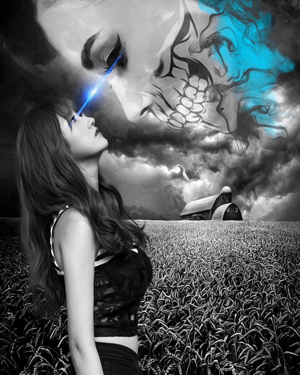 #freetoedit #trapped #gaze #skull #smoke #blackandwhite