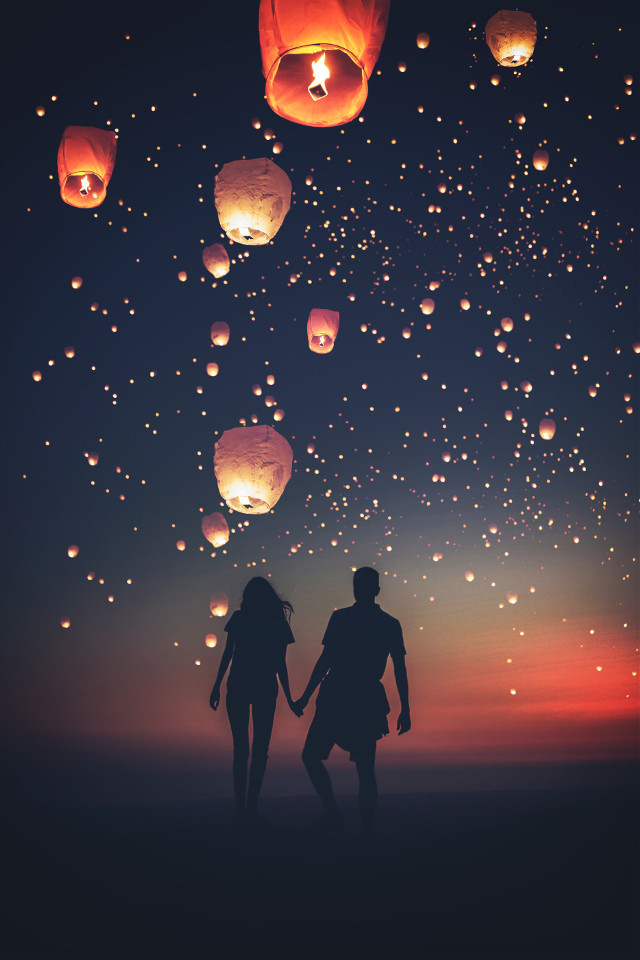 Let go to somewhere...... just you and me ♡ #madewithpicsart #dreamy #lalterns #lights #night #love