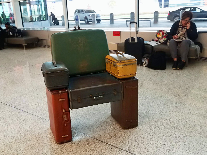#pcchair #suitcases #chair #airportart #indianapolis #freetoedit