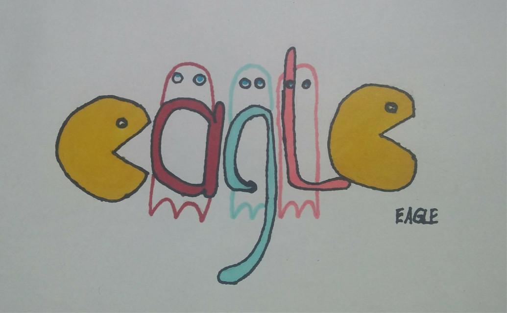 #freetoedit A new drawing. e a g l e ! #eagle #graffiti #pacman #mydrawing #colorful