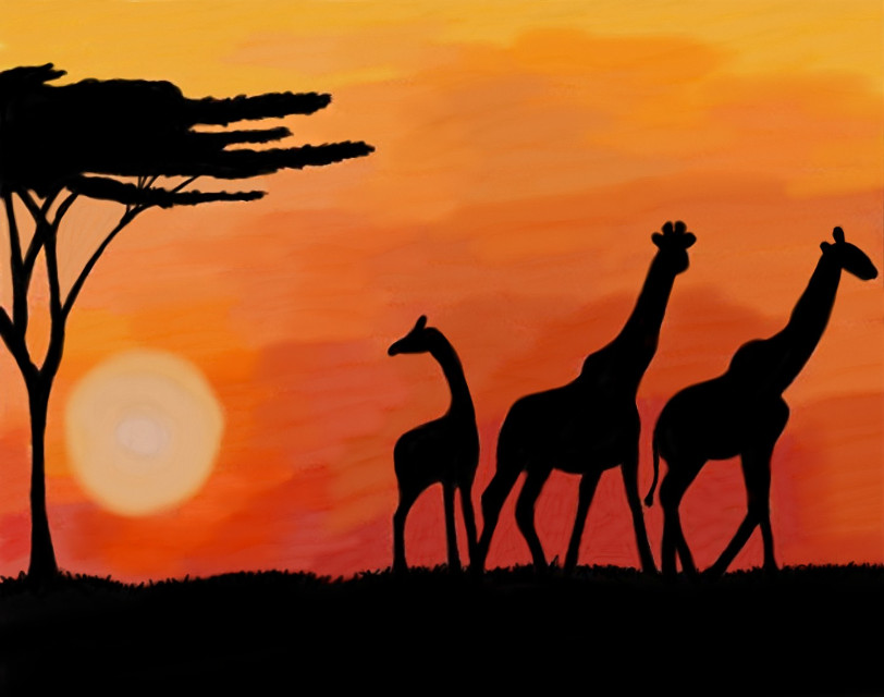 One of my drawings I really needed only a very short time #mydrawing #myart #dcjungles #jungles #freetoedit #painting #family #giraffe #africa #sunset #silhouette  #dcfamilyportraits
