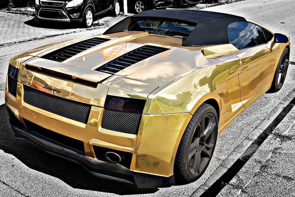 Lamborghini Gallardo Gold Cars Hdr Blackandwhite Superc