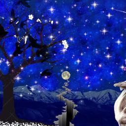 freetoedit nightsky treesilhouette starsstickerremix ircmoonday