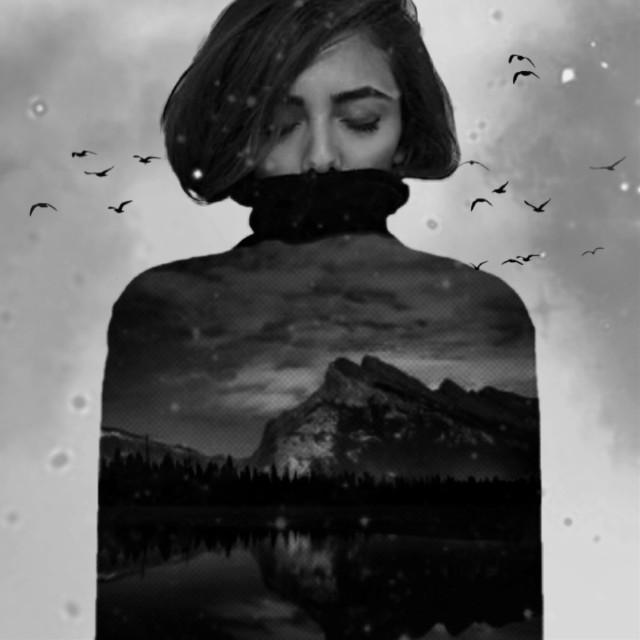 people write  because no one listens.  آدما می نویسن،  چون کسی نیست گوش بده...  #freetoedit #girl #sea #black & white #woman #eye