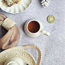 tea teatime lemontea stillife flatlay