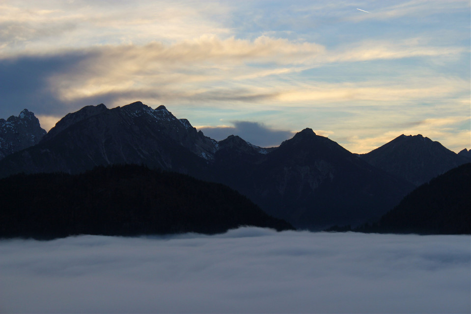 Beautiful View!  #freetoedit #bavaria #mountains #clouds #alps