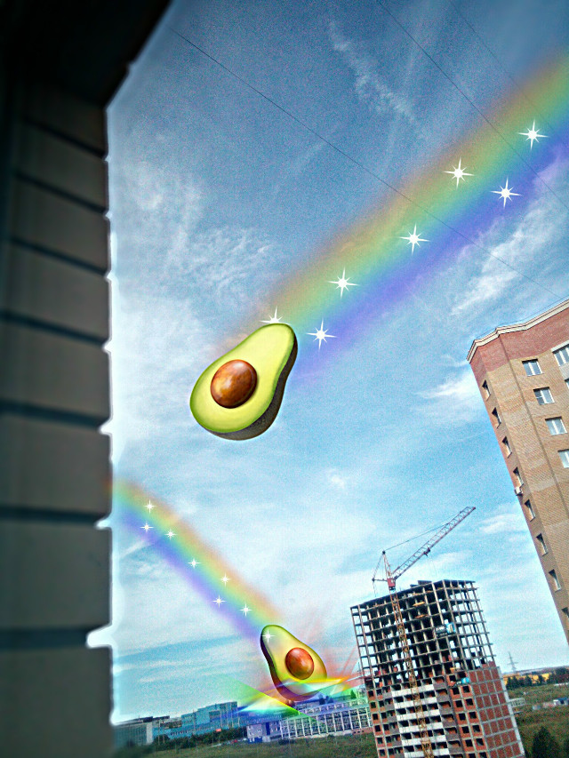 XXI Centure, 30. 07. 2018. Avocados trying to capture the Earth. #freetoedit #store #magic #photoshop #sky #rainbow #light #rainbowlight #avocado #avocados #sticker #stickers #avocadostickers #likeforlike #like4like