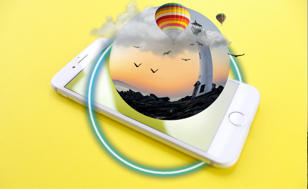 #freetoedit #stickers #myedit #nature #hotairballoon #birds #clouds #lighthouse #phone #remixed #neon #ring #remixit