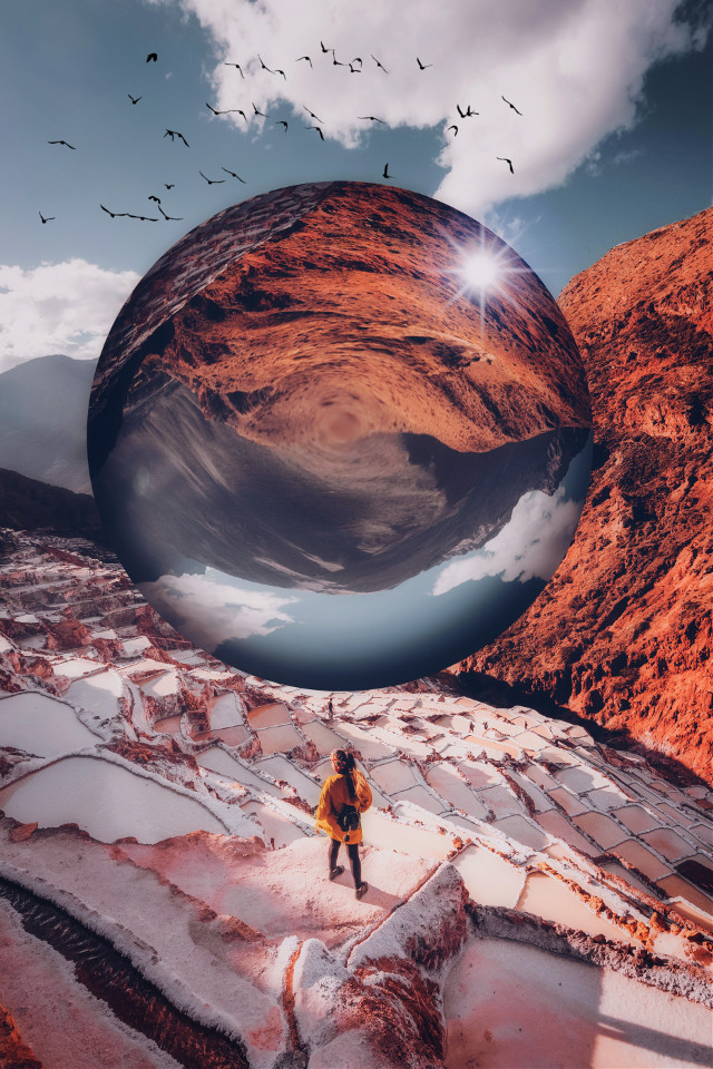 Image from @freetoedit gallery #sphere #drawtools #layers #circle #fisheyeeffect #landscape #mountains #nature #editstepbystep #myedit