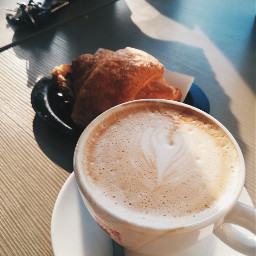 freetoedit cappuccino coffie croissant breakfast