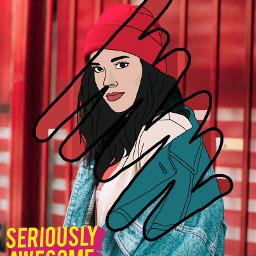 freetoedit remixit urban girl beanie art drawing hipster