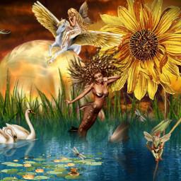 myedit myinspiration lake swans fairy