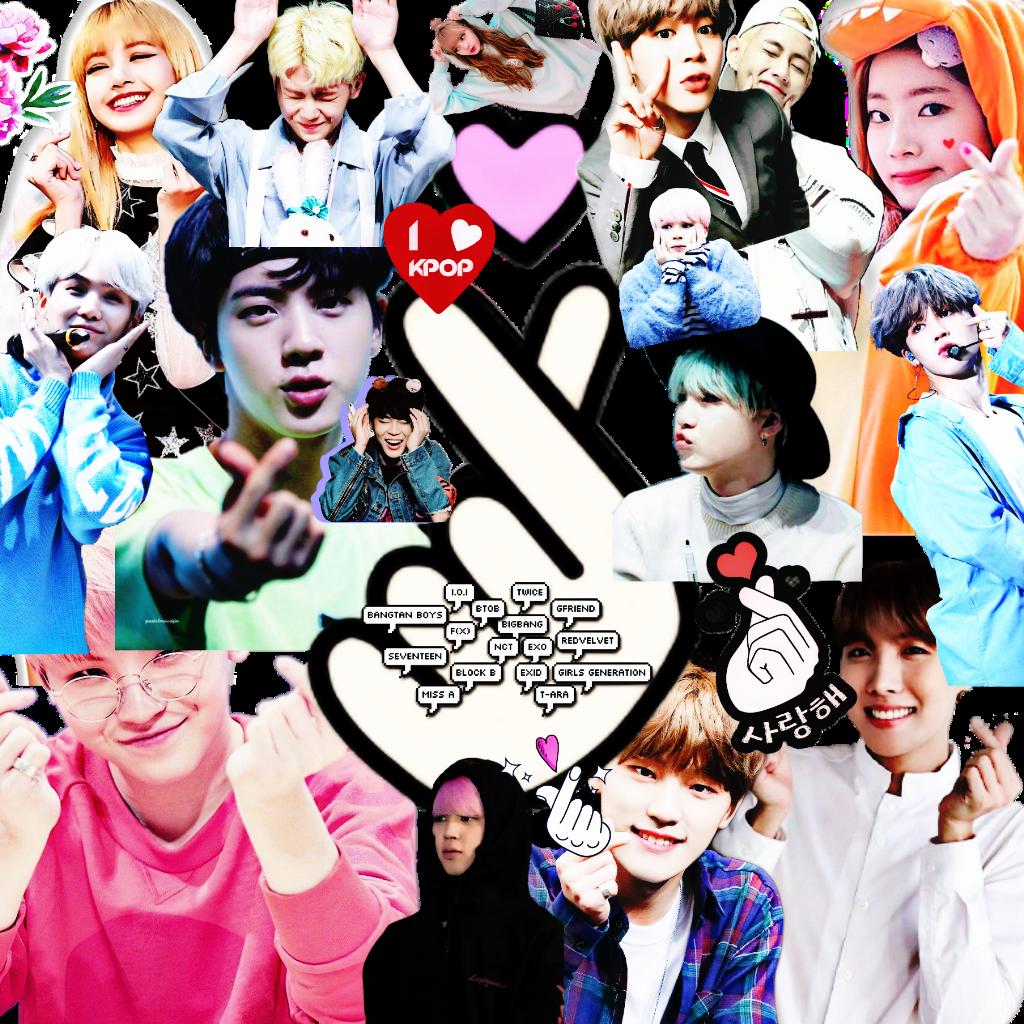 Kpop Fingerheart Collage Cute Wallpaper