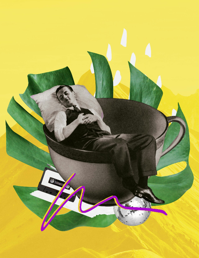 Santa Isabel #collageoftheday #collageart #yellowaesthetic #man #tea #disco #leaf