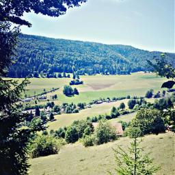 swissvillage viewfromtheforest valley trees forest