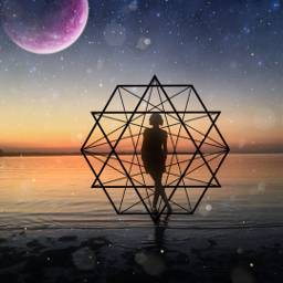 freetoedit sky stars galaxy planet space girl sea magic