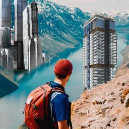 freetoedit man mountain trecking building