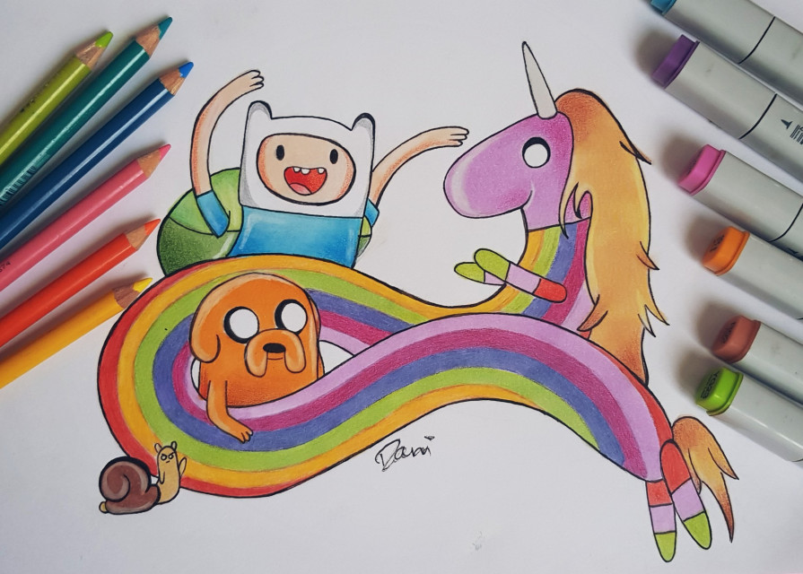 Drew this for an Adventure Time competition, will be doing a second one that should be done in a couple of days🦄🌸🌈☄ #freetoedit #adventuretime #cartoonnetwrok #drawing #art #pencildrawing #copicmarkers #prismacolorpencils #colour #cartoon #finn #jake