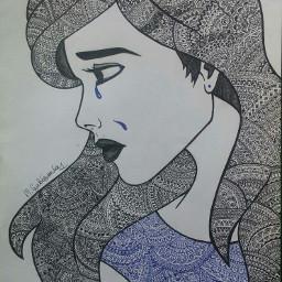 girl crying sad drawing ornamental