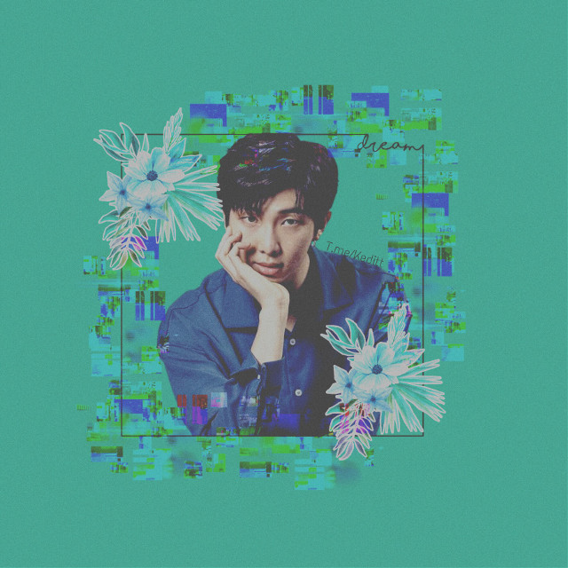 #freetoedit #green #rapmonster #rm #glitch #flower #bts
