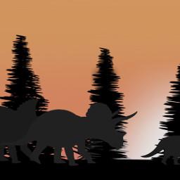freetoedit sunset romantic family dcdinosaur dcdinosaurs