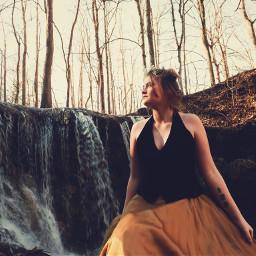 modeling waterfall outdoors fairytale dress