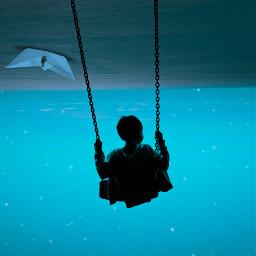 freetoedit surreal swing ocean nature blue picsart