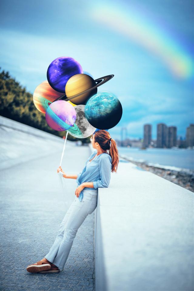 #freetoedit #girl #planets #rainbow #sky #beauty #art #pleaselike