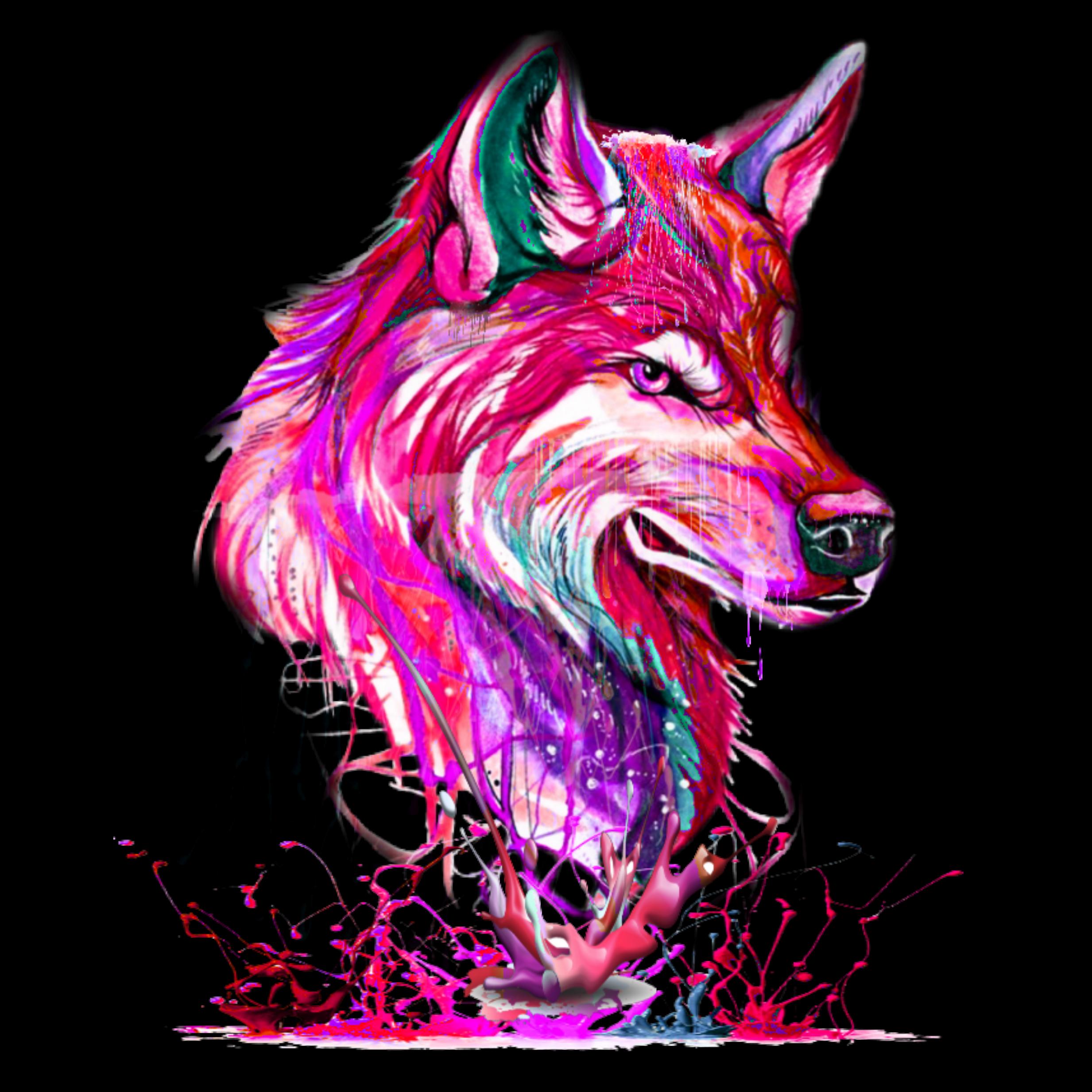 pink wolf - Sticker by Dyme