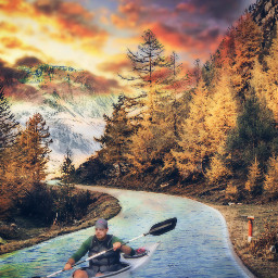 freetoedit canoe surreal fantasy colorfull