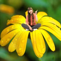 freetoedit flower girl sitting