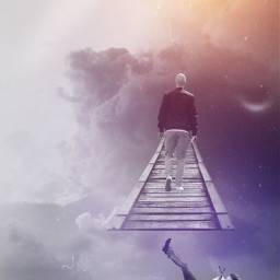 freetoedit man falling walking bridge