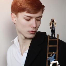 freetoedit man climbing ladder watching