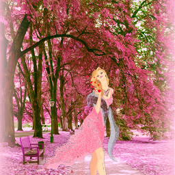 freetoedit watercolor woman cherryblossoms vignetteeffect