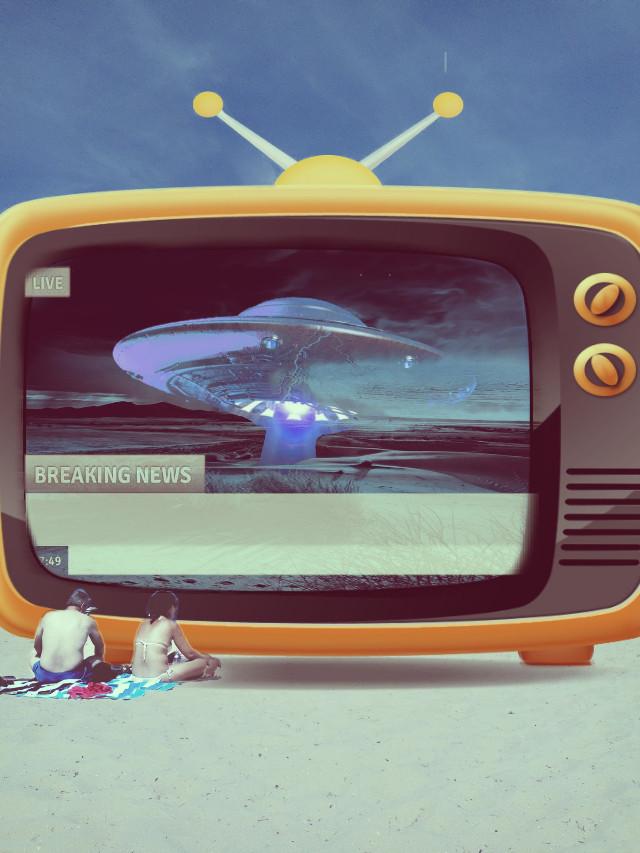 #freetoedit #television #breakingnews #beach