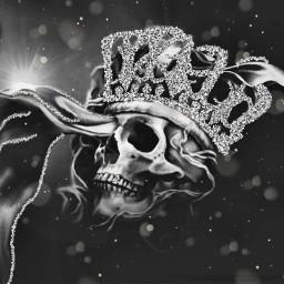 skull skullhead glitterbrush blackandwhite editstepbystep