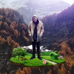 freetoedit man mountain island nature