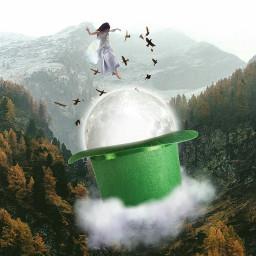 freetoedit ircgloriousgreenhat hat moon