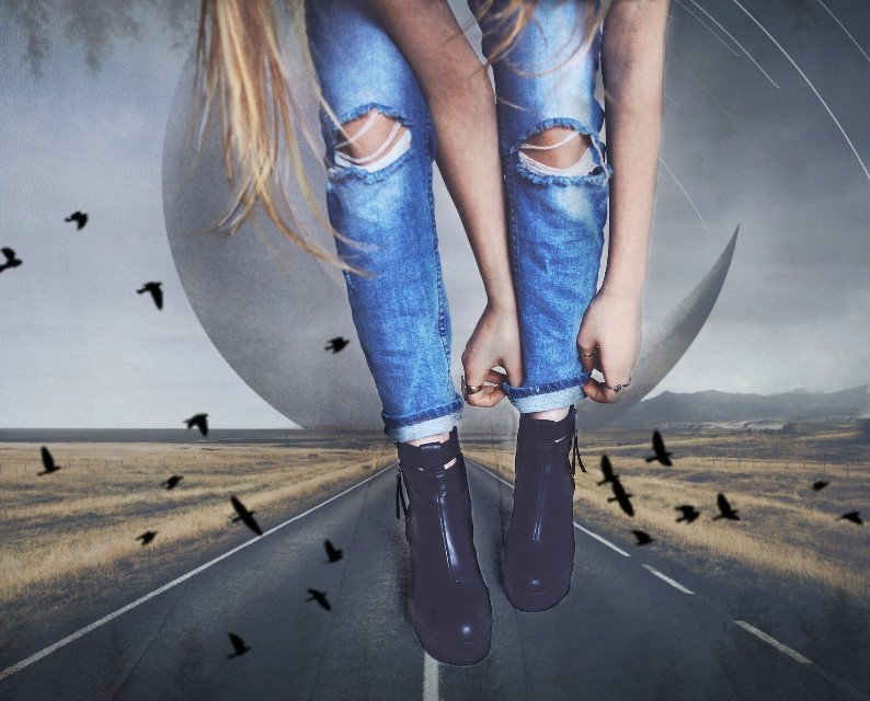 #freetoedit #road #shoes #birds #jeans