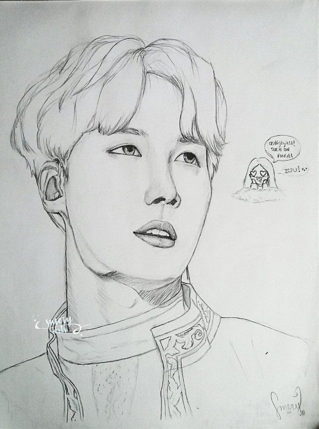 Here we have a drawing of my precious sunshine 😍💕💖 and me 😂 (yeah, that's my face every single day when I see a picture of them 😅) I hope you like it guys 😊💕  ㅡ💭ㅡ When you don't have class but you need to study for your oral exam, write an essay, do homeworks and study again for two more exams 😅 Life is beautiful, isn't it? 😅😂 ㅡ💭ㅡ  💜🍃 Have a nice day/night my loves 🍃💜  . . . . . . . #kpopfanart #kpop #jhope #hobi #hoseok #junghoseok #jhopebts #bangtanboys #bangtan #bts