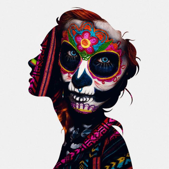 #freetoedit #woman #doubleexposure #face #color #paint #facepaint #beautiful #dead #dayofthedead  #picsart