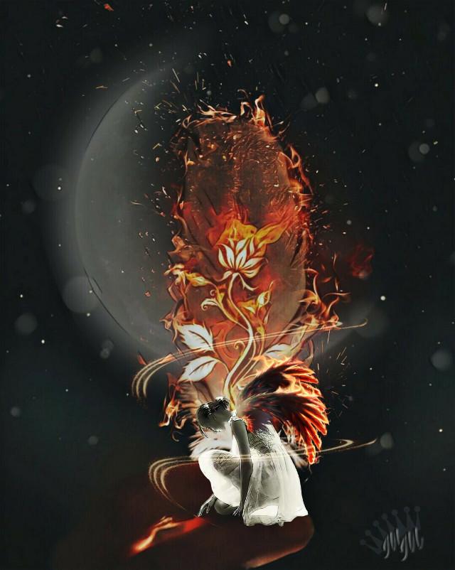 #freetoedit #editedbyme #feather #fire #imagination #art #artistic #moon