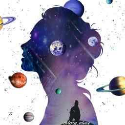 freetoedit planet planetas galaxia mulher